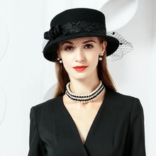 100% Wool Hats With Veil Ladies Black Fascinators For Women Elegant Wedding Party Derby Church Cockt