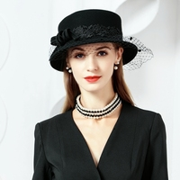 100% Wool Hats With Veil Ladies Black Fascinators For Women Elegant Wedding Party Derby Church Cocktail Hat Fedora M662