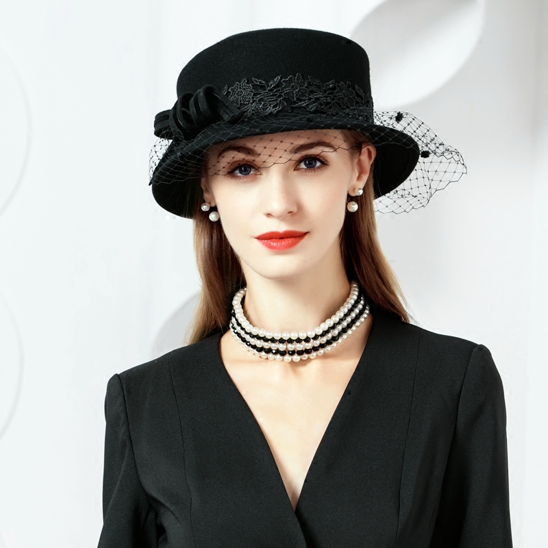 100% lana sombreros con velo negro señoras Fascinators para mujeres  elegante boda iglesia de Derby Fedora sombrero M662 - Blog Store a0b00dd4100