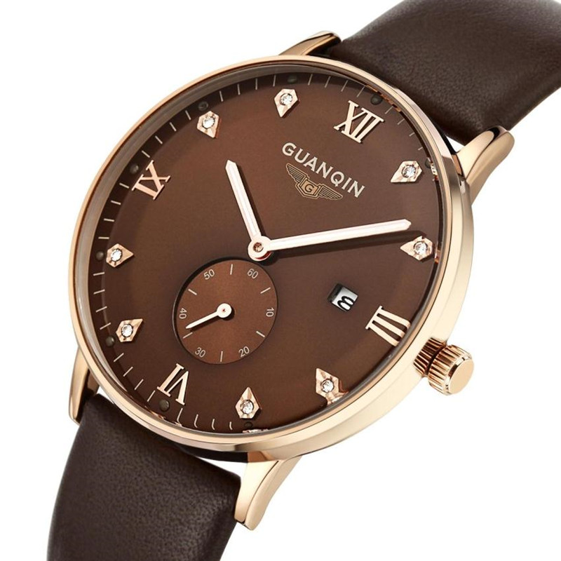 ФОТО  GUANQIN Men Watch Leather Strap Waterproof Designer Quartz Male Wristwatch relogio masculino relojes