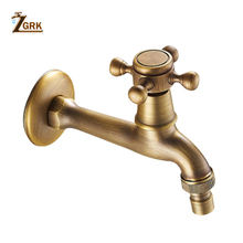 ZGRK Bathroom Faucet Luxury Antique Brass Water Tap Decorative Outdoor Garden Bibcock Washing Machine