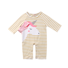 Baby Girls' Boy Striped Unicorn Romper