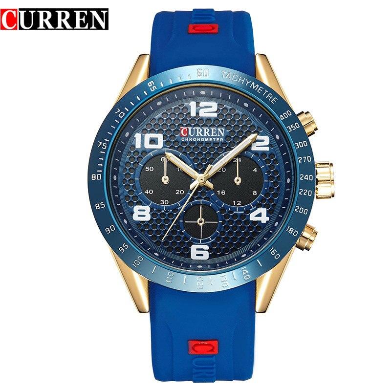 CURREN New Men Casual Sports Watches Rubber Strap Quartz Wristwatch Young Vogue Design Male Clock Relogio Masculino Reloj Hombre цена 2017