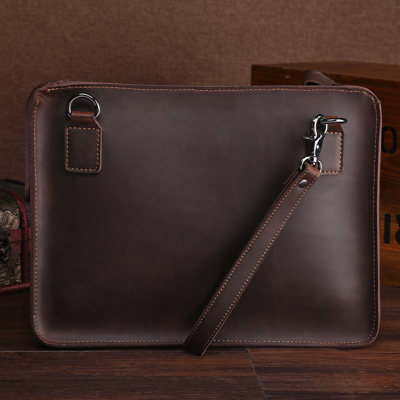 Retro Genuine Leather Zipper Handbag For 13 Inch MacBook Air Protective Jacket Shoulder Bag A4 File Manager Bag Man Briefcase