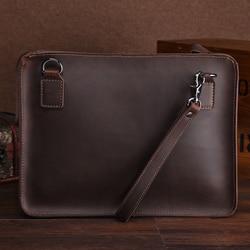 Retro Genuine Leather zipper Handbag for 13 inch MacBook Air protective jacket Shoulder Bag A4 file manager bag man briefcase