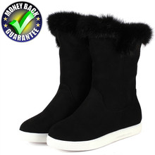 hot deal buy new winter boots women warm snow ankle rabbit fur boots snow boots flat boot ladies flock female fashion non-slip basic shoes