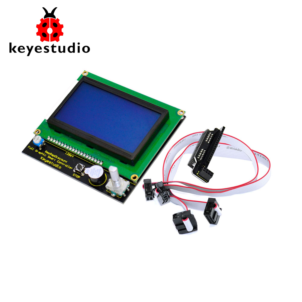 Free shipping Keyestudio 12864 LCD Graphic Smart Display Controller Board Adapter 30cm Cable for Arduino 3D