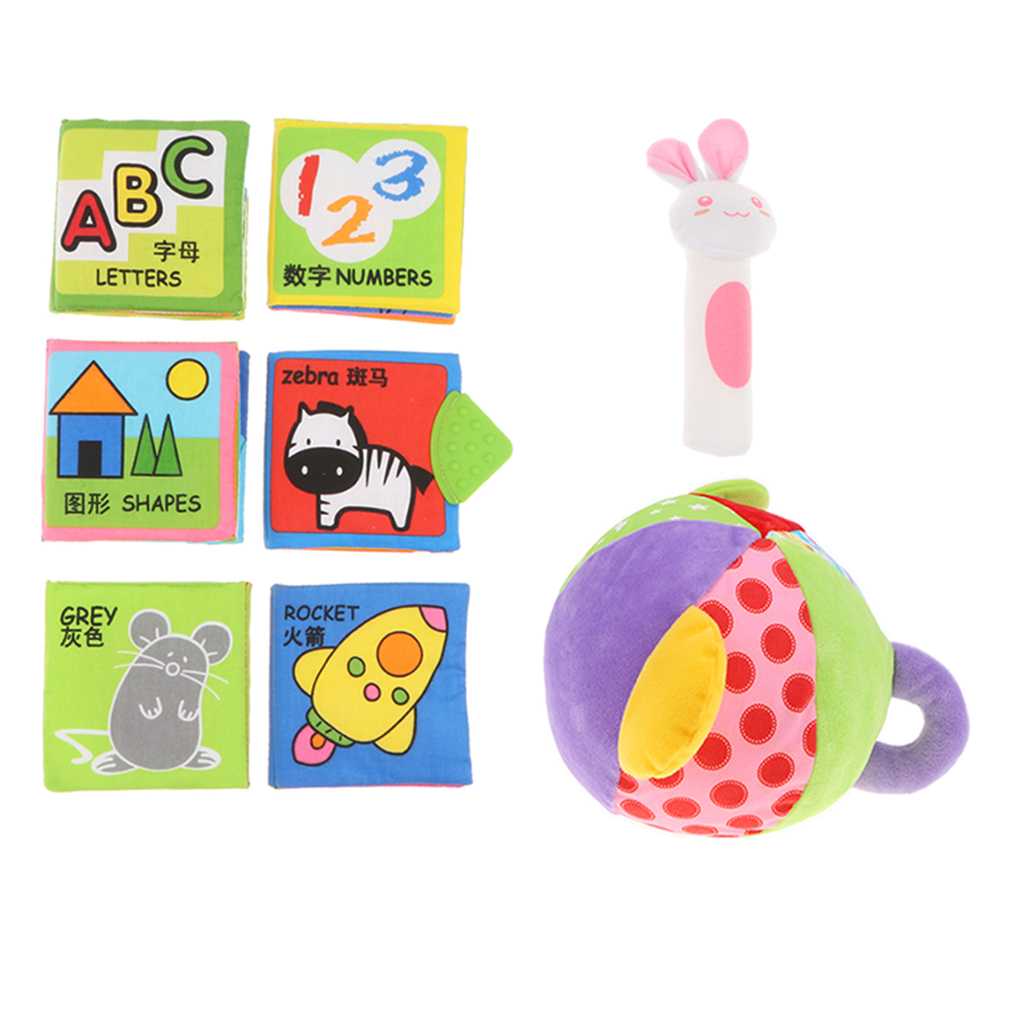 8pcs Baby Soft Cloth Books & Rattle BB Bar Squeaker - Infant Toddler Number Letter Animal Cognition Developmental Sensory Toy