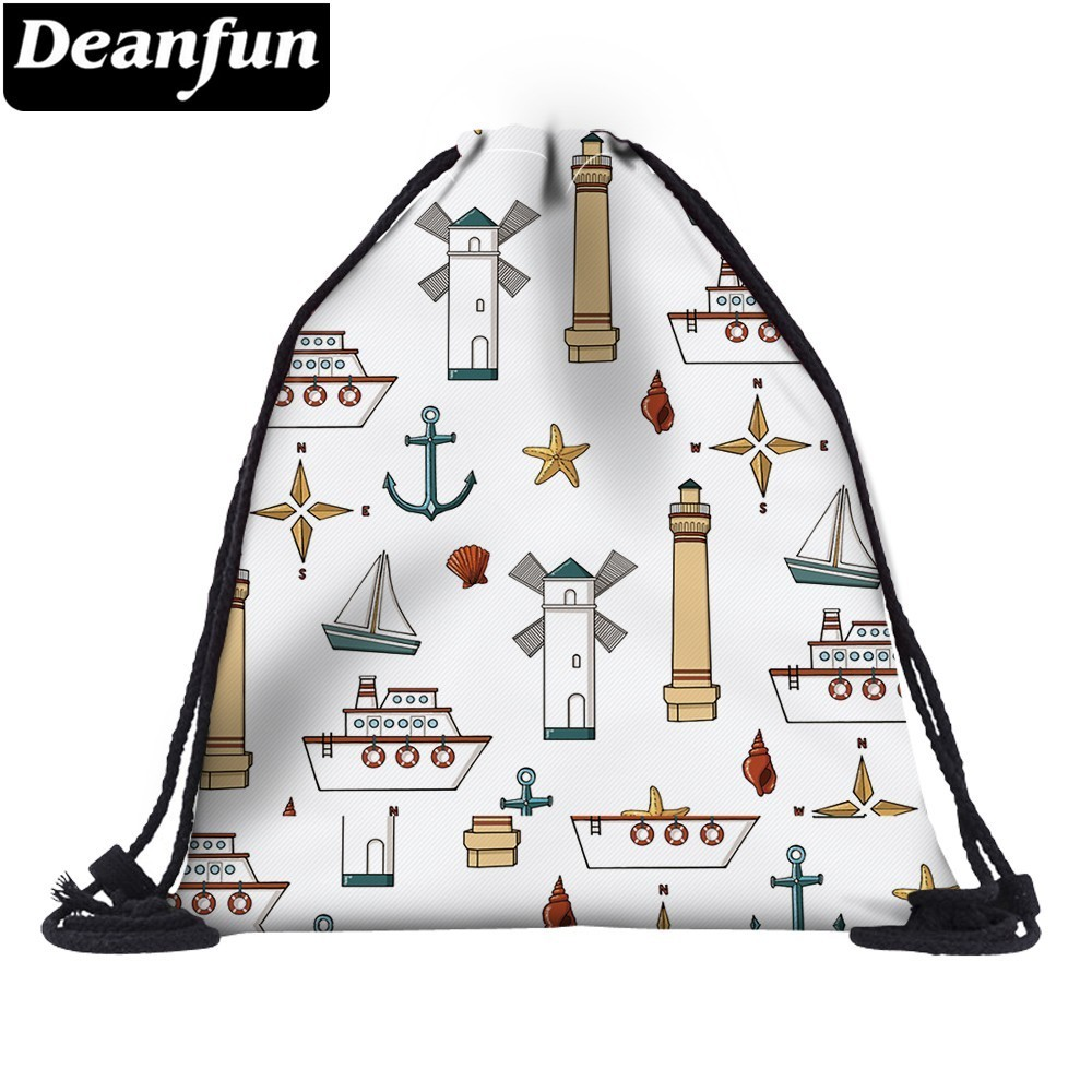 Deanfun Drawstring Shoulder Bag 3D Printed Ship Pattern Fashion For Girl School 60156   #