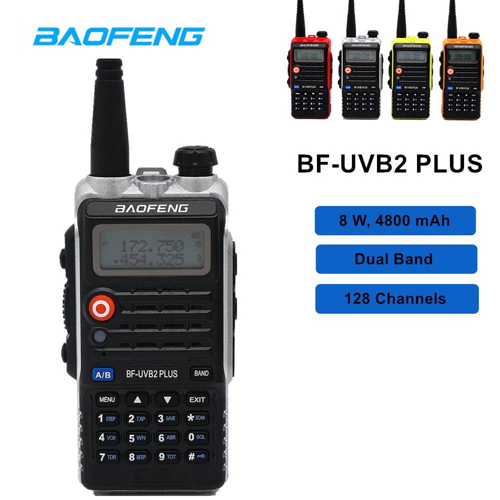 High 8W Baofeng Walkie Talkie BF-UVB2 PLUS Dual Band VHF/UHF Two Way Radio UVB2 10km Ham Radio 128CH Handheld TransceiverHigh 8W Baofeng Walkie Talkie BF-UVB2 PLUS Dual Band VHF/UHF Two Way Radio UVB2 10km Ham Radio 128CH Handheld Transceiver