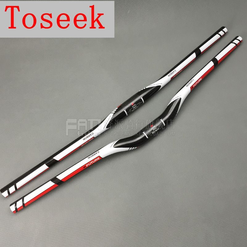 Toseek Future Full <font><b>Carbon</b></font> fiber bike <font><b>handlebar</b></font> <font><b>MTB</b></font> bicycle flat/<font><b>rise</b></font> <font><b>handlebar</b></font> 3k 31.8*600/620/640/660/680/700/720mm bike parts image