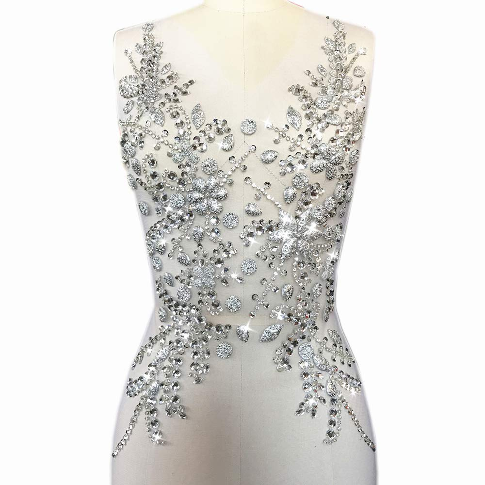 Best Choice Silver 30x55cm Sequin Rhinestones Bodice Patches Applique Decoration for on Clothes Bridal Wedding Prom Dance Dress