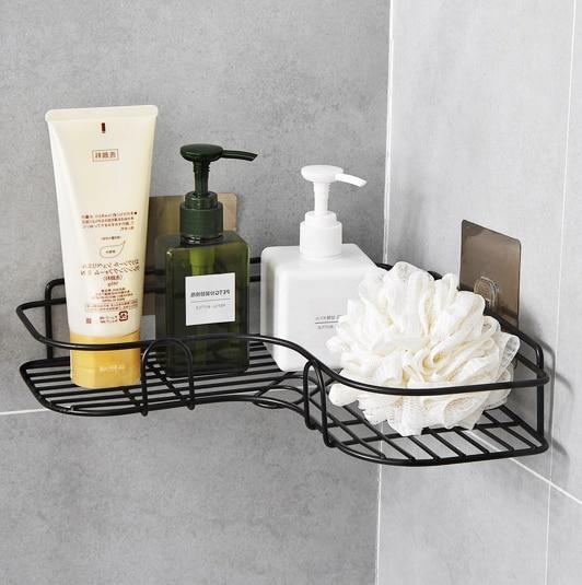 Luxury Black Metal Hanging Shower Caddy Bathroom Floor Corner Storage Rack Shelf Basket