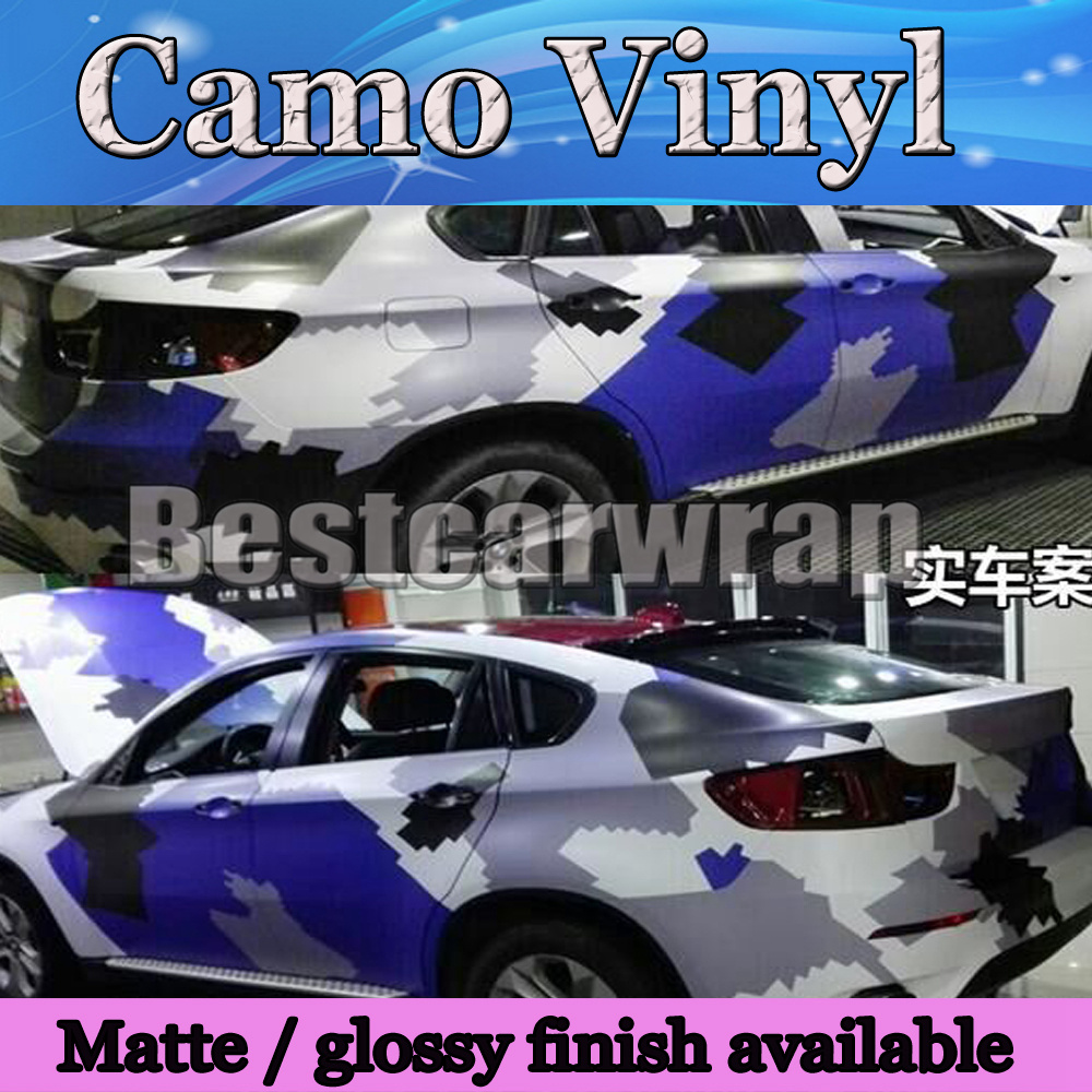 Large camo vinyl blue black white full car wrap sticker pixel camouflage car sticker with air free 1 52x30m roll 5x98ft