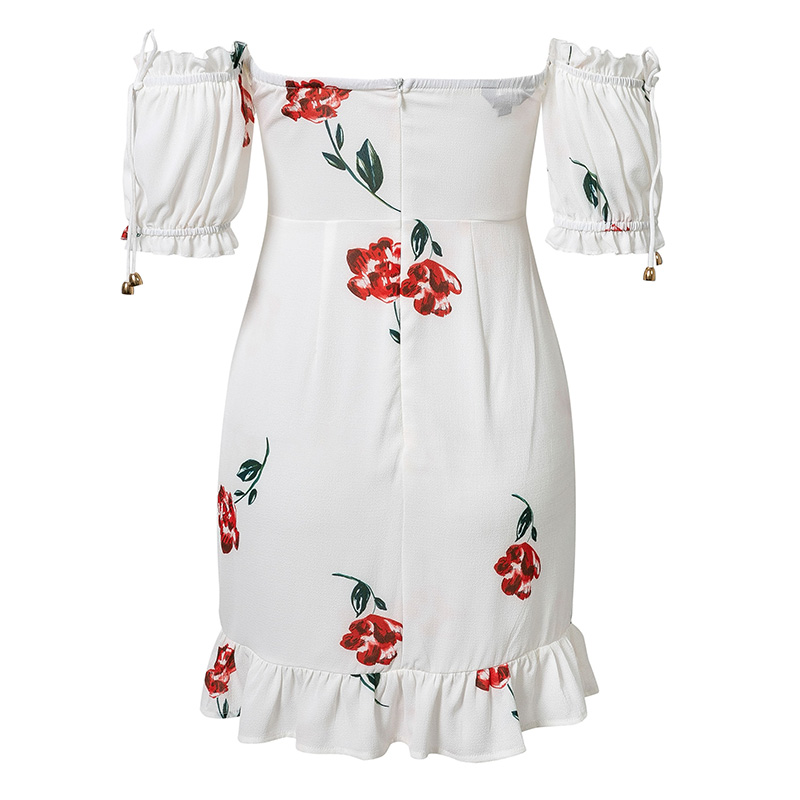 Women Summer Dress 2019 Lace Up Strapless Off The Shoulder Sexy Dress Short Sleeve Holiday Floral Print Ruffle Beach Dress White