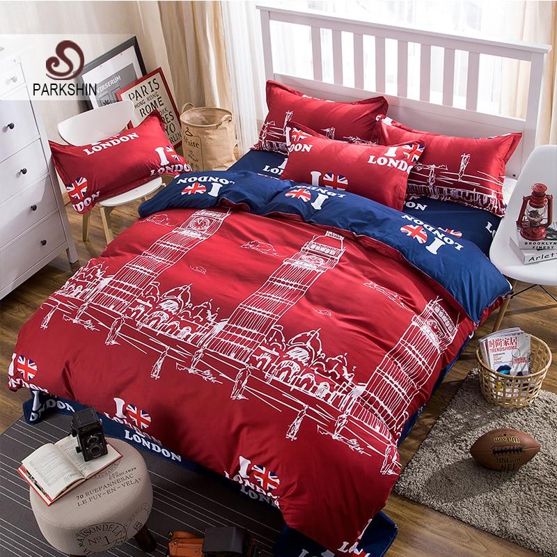 Parkshin Bedding Set London Decorative Bedspread Red Duvet Cover Blue Bed Flat Sheet Pillowcase Bedclothes Double Adult Bed Set