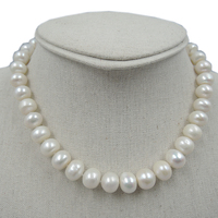 100% NATURA FRESH-WATER NEAR-ROUND PEARL NECKLACE-AAA + 12-13mm perła dobrej quanlity
