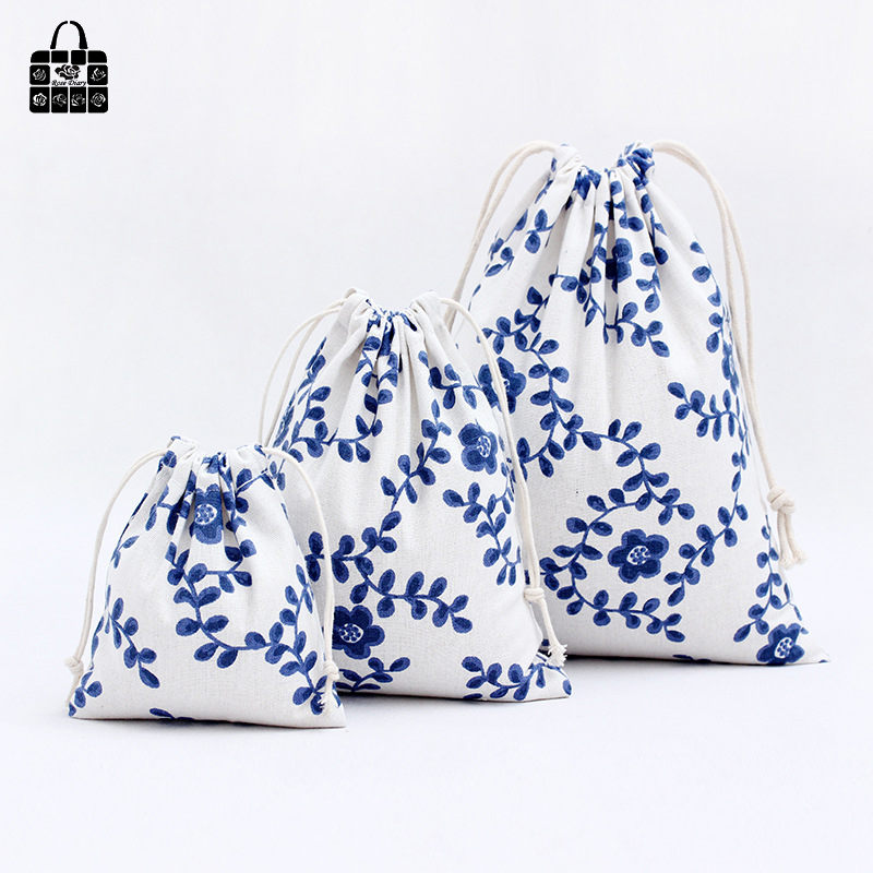 1 pcs Blue flower vine cotton linen fabric bag women Zero wallet child girl lady change purse, kids toy Mobile phone storage bag