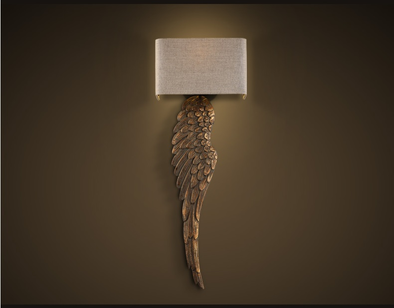 93cm High Wall Lamp With Feather Wings Decor (Wood Made) / Lights With Fabric Shade With E27 Bulbs