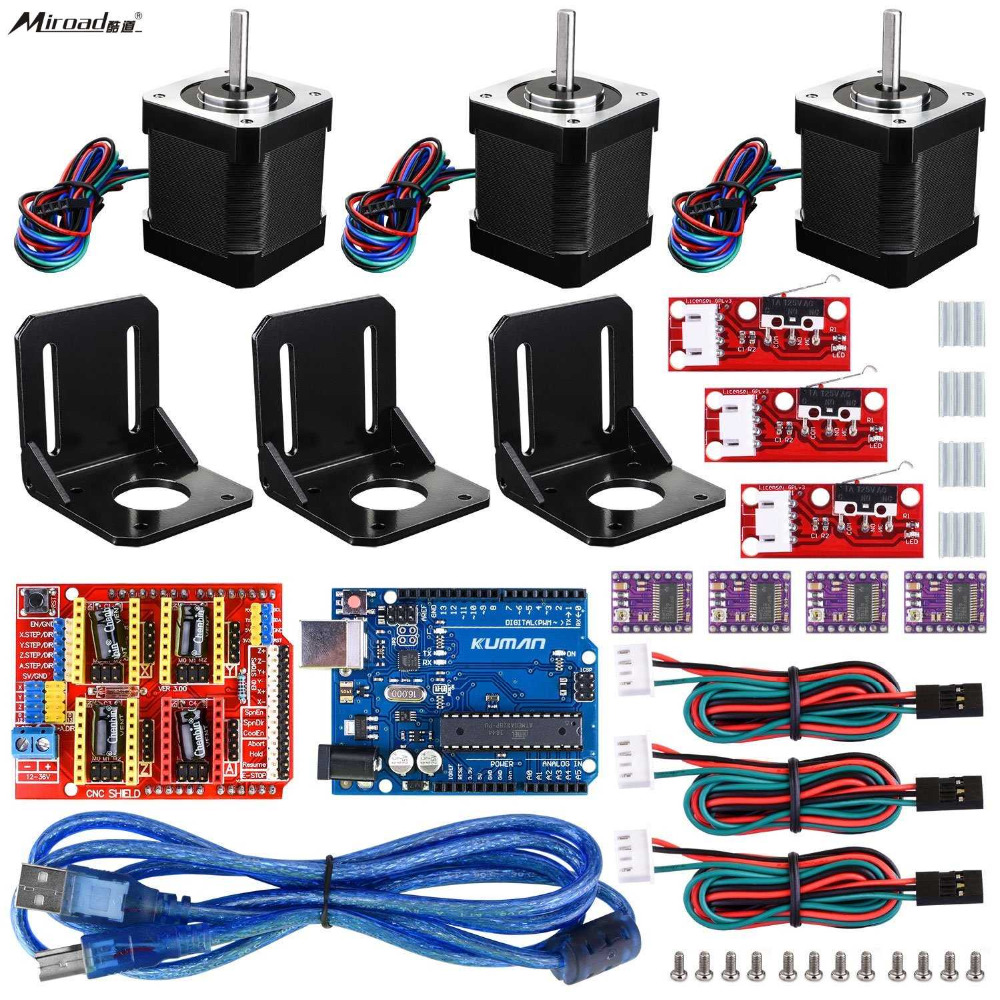 Professional 3D printer CNC Kit for arduino, Miroad GRBL CNC Shield +UNO R3 Board + RAMPS 1.4 Mechanical Switch Endstop KB02