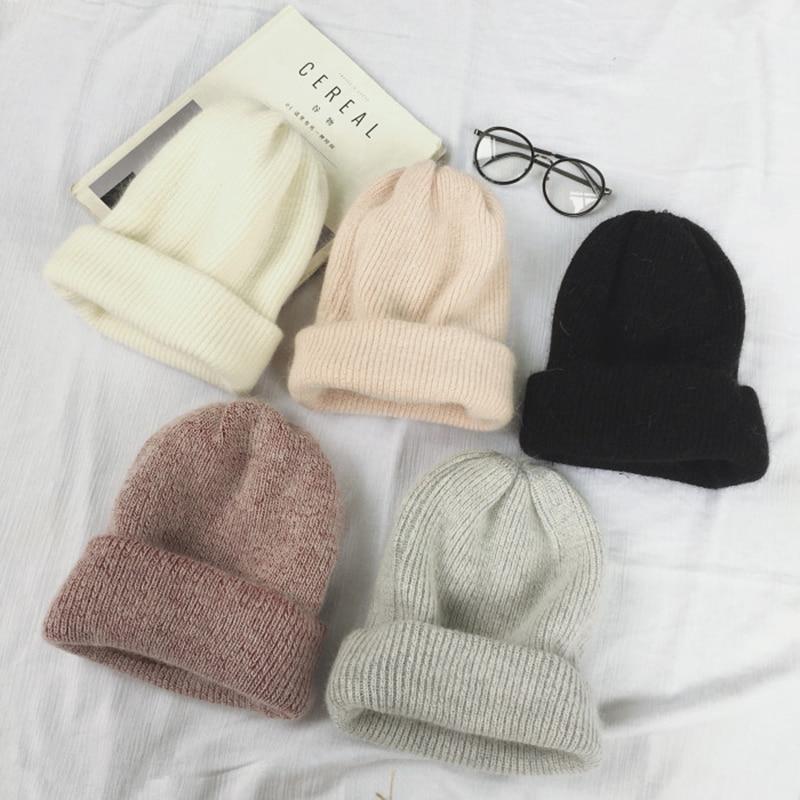 Autumn Winter Rabbit Hair Winter Skullies Hat Fashion Warm Beanies Hats Casual Women Solid Adult Rabbit Caps Cover Head