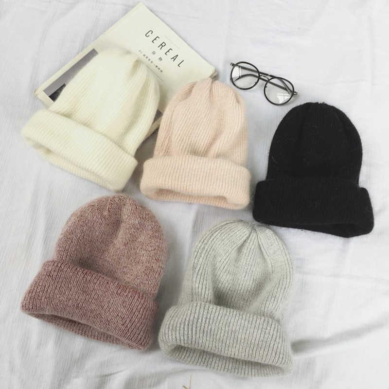 Musim Gugur Musim Dingin Kelinci Rambut Musim Dingin Skullies Topi Fashion Hangat Beanies Topi Kasual Wanita Dewasa Kelinci Topi Penutup Kepala