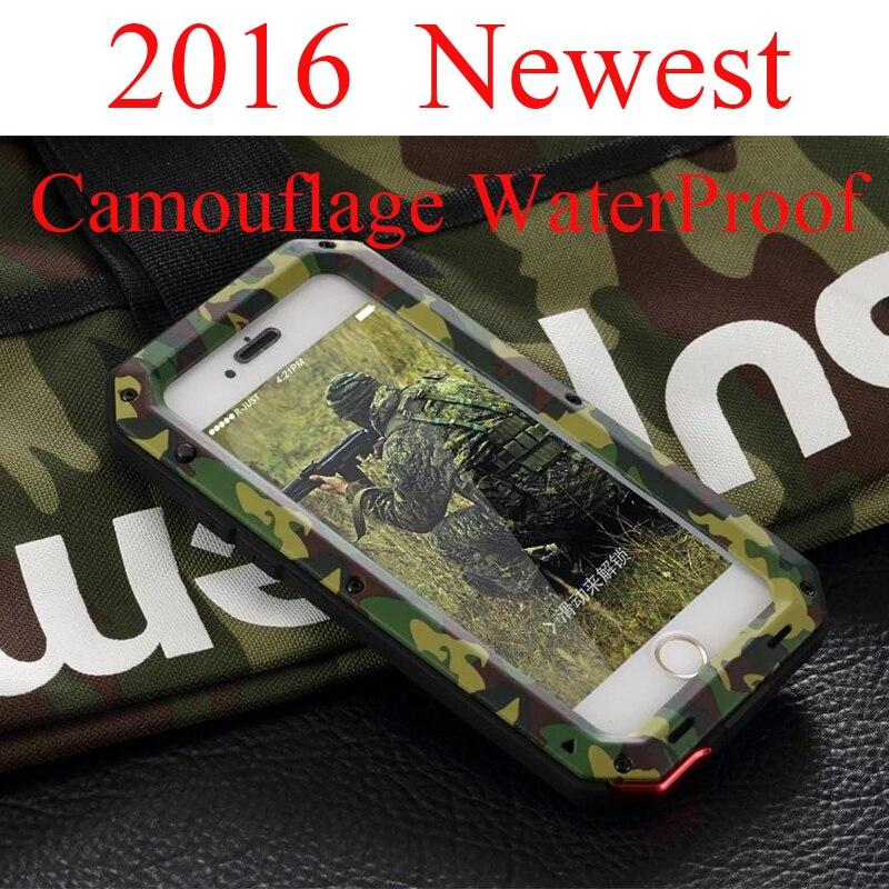 """imágenes para De lujo Militar A Prueba de agua A Prueba de Golpes Caso Para el iphone 6 6 S 4.7 """"Plus 5.5"""" Camuflaje pesado De Aluminio de Metal Cubierta de Gorilla R-sólo"""