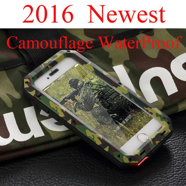 """Luxo à prova de choque à prova d ' água exército caso para iphone5S SE 6 6 S 4.7 """" além disso 5.5 """" Heavy camuflagem Aluminum Metal Cover Gorilla Glass"""
