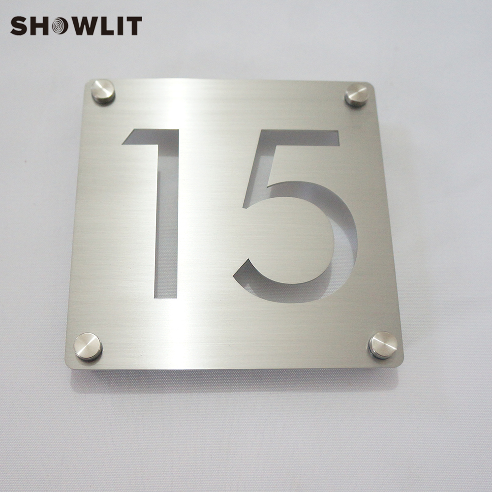 Modern Style Room Number Plate Laser Cutting Brushed Finish Stainless Steel Door Plates Screw Mounted