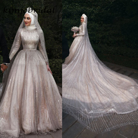 SuperKimJo wedding dresses arabic sequins sparkly bridal dresses long sleeve court train wedding gowns muslim without veil