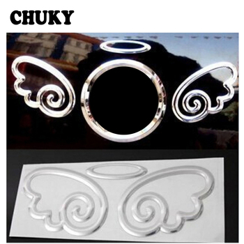 CHUKY Car-styling Silver 3D Angel Wings Logo Decal Decorative Sticker For BMW E46 E39 E90 E60 Toyota Coralla Nissan Qashqai J11 image