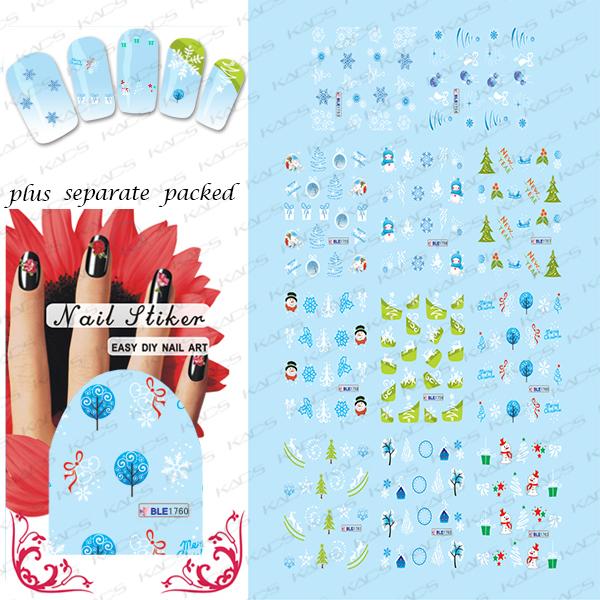 2015 NUEVO 50 Unids/lote BLE1753-1763 Hojas Copos de nieve de Navidad Muñecos de Nieve Decoraciones de Transferencia de Agua Del Arte Del Clavo de la Etiqueta engomada