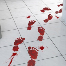 Horrible Halloween Wall Sticker Blood Hand Foot Prints Stickers for Kids Rooms PVC Room Decoration Decal