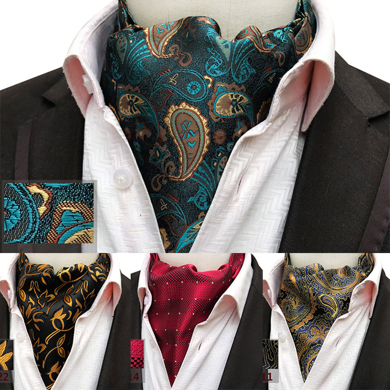 RBOCOTT Men's Classic Paisley Ascot Plaid & Floral Cravat Vintage Ascot For Men Wedding Business Fashion Parrty Neckwear