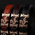LURRSN Low Price Promotion 2017 New Arrival Men Gold Dragon Belt Designer Brand Luxury Belt Smooth Belts Men Leather Brown 110cm