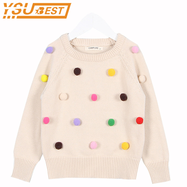 2f7309645 New 2018 Autumn Kids Sweaters Colored Balls Baby Knitted Cardigans ...