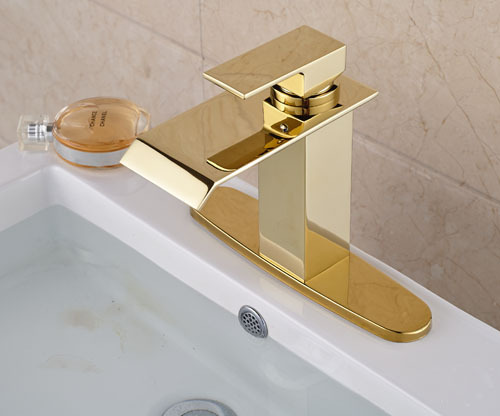 Waterfall Spout  Basin Sink Faucet Golden Finish Bathroom Mixer Tap Solid Brass Single Handle With Hole Cover Plate deck mount chrome finish basin faucet bath vanity sink tap waterfall spout mixer faucet one hole tap