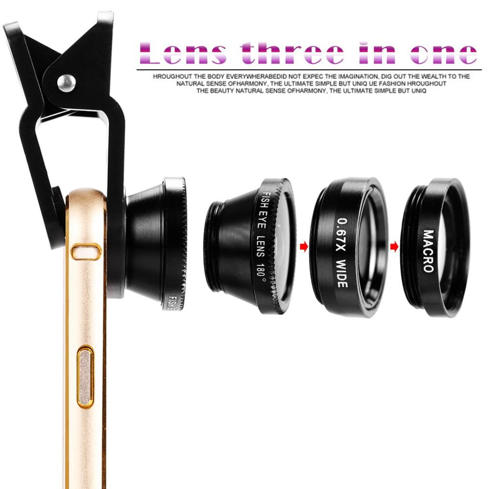 3 in1 Fisheye Phone Camera Lenses For iPhone Samsung Xiaomi lens On Phone 5