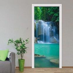 3D Mural tapeta do sypialni drzwi naklejki wodospad dekoracja domowa przedstawiająca krajobraz fototapeta PVC drzwi samoprzylepne naklejki ścienne w Naklejki na drzwi od Dom i ogród na