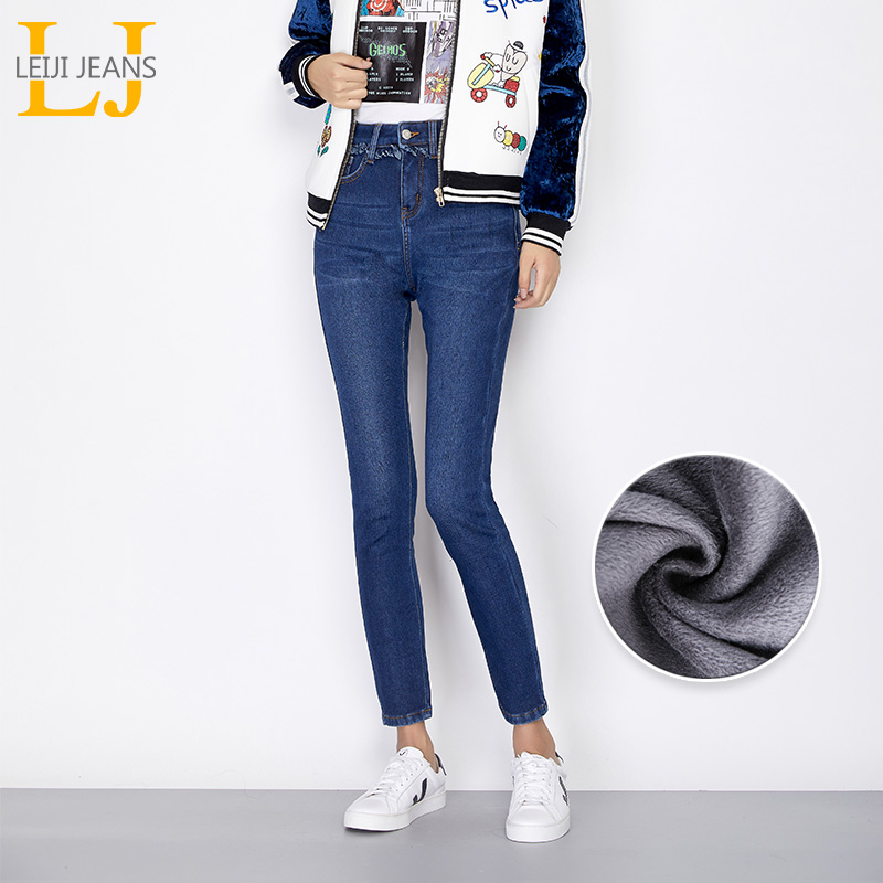LEIJIJEANS New Winter Fleece Casual Style Bleached Plus Size L-6XL High Waist   Jeans   Full Length Skinny Pencil   Jeans   Women 7178