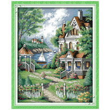 -Estilo europeu villa Padrões Contados Cross Stitch Diy 11 K Ponto Cruz Set Paisagem Kit Ponto-Cruz Bordado Needlework