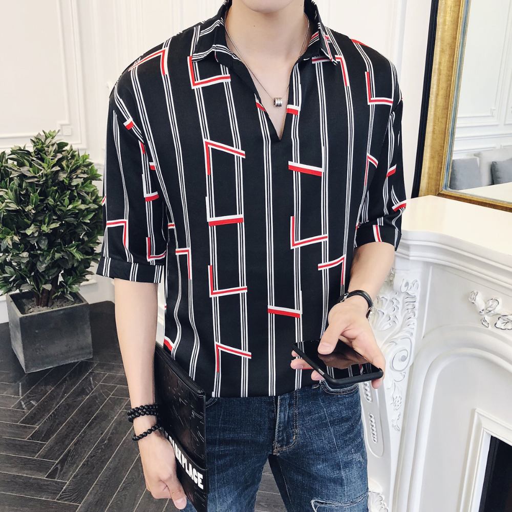 Camisa Social Masculina Summer New Men Shirt Half Sleeve Casual Turn Down Collar Business Work Shirts Pullover Thin Loose Shirts