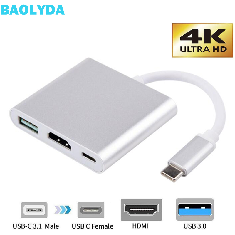 Baolyda USB C Dock HDMI Type C To HDMI Hub Adapter 4K USB C Multiport Adapter USB C Converter For MacBook/Chromebook Pixel/Dell