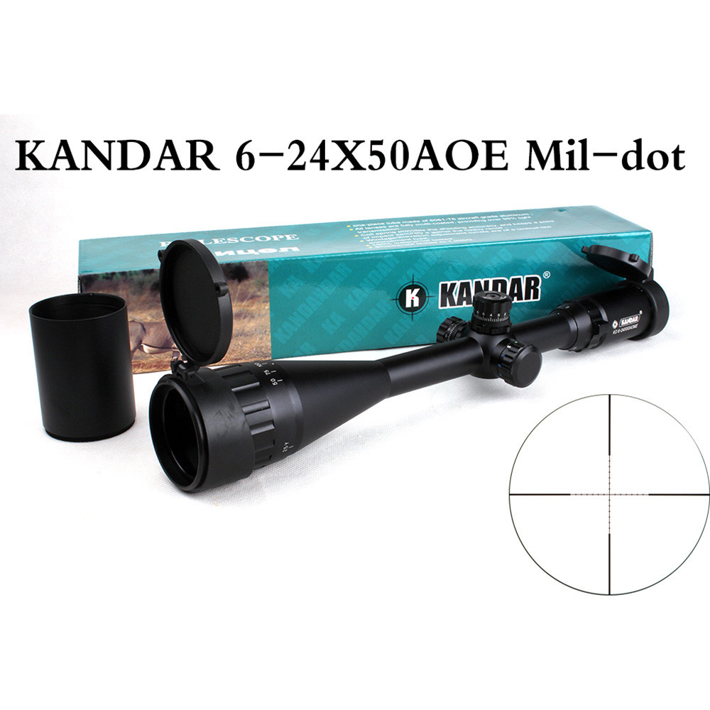 KANDAR 6-24X50 AOE Tactical Riflescope Adjustable Hunting Green Red Blue Dot Illuminated Optical Sights Reticle Rifle Scopes kandar 6 18x56q front tactical riflescope big objective with glass plate riflescope military equipment for hunting scopes