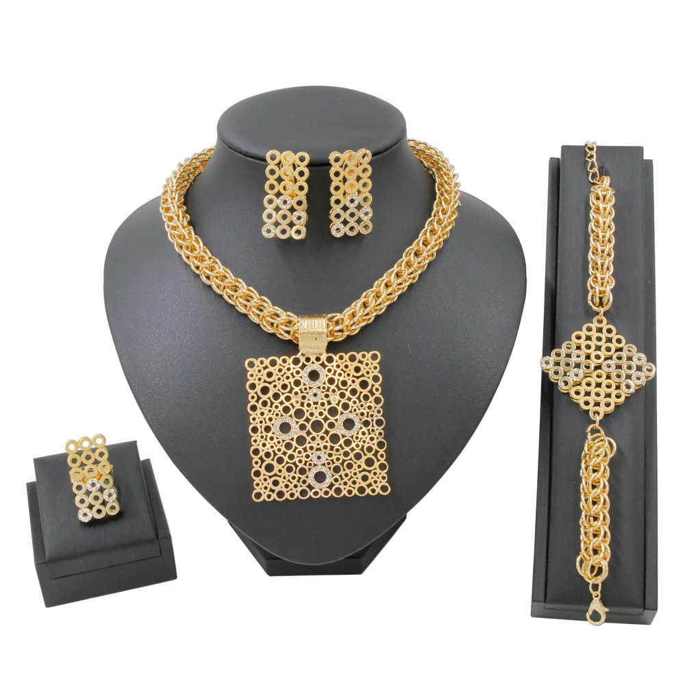 אופנה 2019 כיכר צורת עיצוב 18 זהב תכשיטי סטי קריסטל שרשרת צמיד טבעת יום נישואים תכשיטי מתנת אבזר