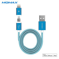 Momax 1 m largo 2 en 1 Rayo de datos USB MFi Cables para Samsung Android trenzado 2.4A Cable de carga para apple iPhone 6 7 8 más