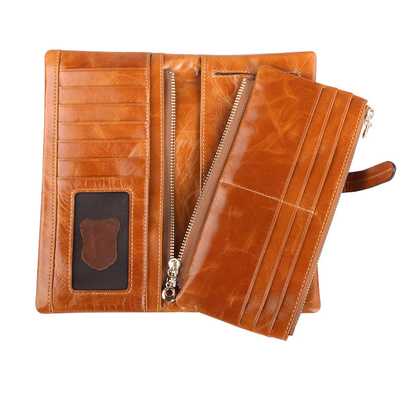 New Oil wax Leather Women's Wallets Genuine Leather Wallet Ladies Long Wallets Purse Dollar Price Fashion Woman's Clutch dollar price new european and american ultra thin leather purse large zip clutch oil wax leather wallet portefeuille femme cuir