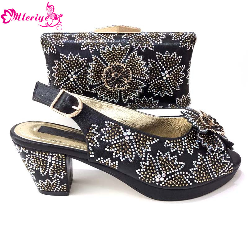 black Color Italian Design Shoes and Bag To Matching African Shoes and Bag  Set For Party Nigerian Women Fashion Shoes and Bag 0f51509d83a04