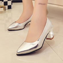 2016 New Arrive Fashion Women Mid Heel Red Bottom Shoes Women's Gold Silver Color Shoe Female High Quality  Pu Leather Shoes P30