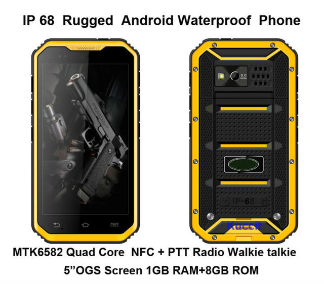 "Teléfono original S6 Smartphone Android Resistente A Prueba de agua IP68 mtk6582 Quad Core UHF Walkie talkie de Radio 5 ""1280x720 teléfono NFC GPS"
